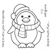 WOODWARE - CHUBBY PENGUIN - CLEAR MAGIC STAMP SET - FRS120